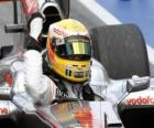 Lewis Hamilton celebrates his victory in Montreal, Canada 2010 Grand Prix