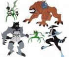 Group of five of the aliens from Ben 10 Omnitrix