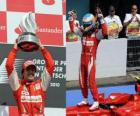 Fernando Alonso celebrates his victory at Hockenheimring, German Grand Prix (2010)