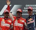 Fernando Alonso, Felipe Massa, Sebastian Vettel, Hockenheimring, German Grand Prix (2010) (1st, 2nd and 3rd Classified)