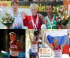 Stanislav Emelyanov 20 km walk champion, Alex Schwazer and Joao Vieira (2nd and 3rd) of the European Athletics Championships Barcelona 2010