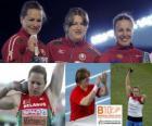 Ostapchuk Nadezhda shot put champion, and Anna Natallia Mikhnevich Avdeev (2nd and 3rd) of the European Athletics Championships Barcelona 2010