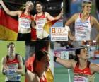 Linda Stahl champion in the javelin, Barbora Spotakova and Christina Obergfoll (2nd and 3rd) of the European Athletics Championships Barcelona 2010