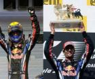 Webber celebrates his victory at the Hungaroring, Grand Prix of Hungary (2010)