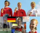 Betty Heidler champion in hammer throw, Tatiana Lysenko and Anita Włodarczyk (2nd and 3rd) of the European Athletics Championships Barcelona 2010