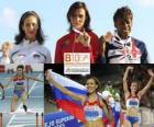 Natalia Antiuj 400m hurdles champion, Vania Stambolova and Shakes-Drayton Perri (2nd and 3rd) of the European Athletics Championships Barcelona 2010