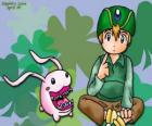 TK and his digimon Tokomon, Takeru Takaishi is the youngest of the group and younger brother of Matt