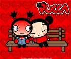 Pucca and Garu sitting on a park bench