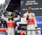Lewis Hamilton celebrates his victory at Spa-Francorchamps, Belgium Grand Prix 2010