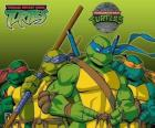 The four Ninja Turtles: Leonardo, Michelangelo, Donatello and Raphael. Teenage Mutant Ninja Turtles or TMNT