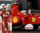 Fernando Alonso celebrates his victory in the Singapore Grand Prix (2010)