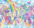 many ponies with rainbow. My little pony