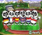 Several Panfu panda T-shirts of some national teams