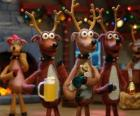 Group of Christmas reindeers celebrating Christmas
