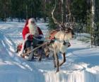 Santa Claus in his sleigh with a reindeer on snow