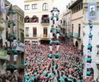 Historical human tower, 'castell', two persons for eight levels, raised and discharged by Castellers de Vilafranca the November 1, 2010