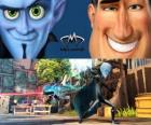 Megamind and Metro Man in a fight