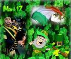 March 17. Saint Patrick's Day is the celebration of the irish culture. Shamrocks used as a symbol of Ireland. Lá Fhéile Pádraig in irish language