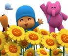 Pocoyo and his friends in a field of sunflowers