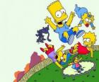 The Simpson brothers with friends Milhouse and Nelson jumping on a trampoline