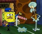 SpongeBob dressed as a policeman asks a pass to Squidward Tentacles