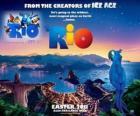 Rio movie poster, with beautiful views over the city of Rio de Janeiro
