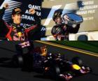 Sebastian Vettel celebrates his victory in the Australia Grand Prix (2011)