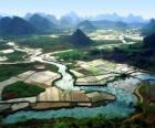 Rural China, river and rice fields
