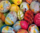 Decorated eggs and flowers to celebrate the arrival of Easter