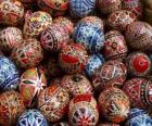 Pile of Easter eggs with geometric decoration