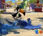 Rio the movie with three of its protagonists: the macaws Blu, Jewel and the tucan Rafael at the beach