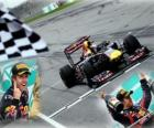 Sebastian Vettel celebrates his victory at the Malaysian Grand Prix (2011)