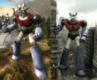 Mazinger Z, in two images in the field and the other in the city