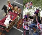 British Royal Wedding between Prince William and Kate Middleton, walking in the carriage by citizens acalamados