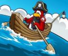 Captain Rockhopper and his pet in his boat in the Club Penguin