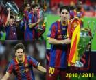 Leo Messi celebrating the 2010-2011 Champions League