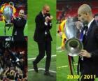 Josep Guardiola celebrating the 2010-2011 Champions League