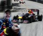 Sebastian Vettel celebrates his victory in the Monaco Grand Prix (2011)