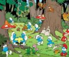 The Smurfs working in the forest, collecting food
