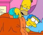 Homer and Marge in bed