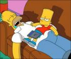 Bart sits on Homer's belly