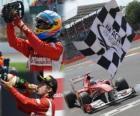 Fernando Alonso celebrates his victory in the Grand Prix of Great Britain (2011)