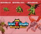 Chupacabra Cub, Chupacabra Scout, Chupacabra Max. Invizimals Shadow Zone. Animal legend, a vampire who is half bat, half dragon