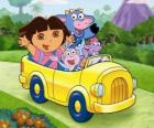Dora and her friends in a small car
