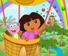 Dora the Explorer and her monkey friend Boots in balloon