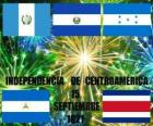 Independence of Central America, September 15, 1821. Commemoration of independence from Spain in the modern countries of Guatemala, Honduras, El Salvador, Nicaragua and Costa Rica
