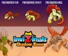 Firecracker Cub, Firecracker Scout,Firecracker Max. Invizimals Shadow Zone. Creatures of fire and ashes that live at the bottom of the volcanoes