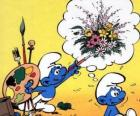 The Painter Smurf painted the thoughts of another Smurf