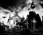 Cemetery on the day of Halloween