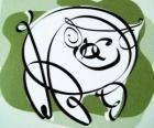 The pig, sign of the Pig, the year of the Pig in Chinese astrology. The last of the twelve animals in the Chinese zodiac